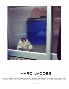 The Ikea Monkey in a Coat, captioned to look like a Marc Jacobs ad.