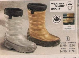 advertisement for space boots, made in Canada