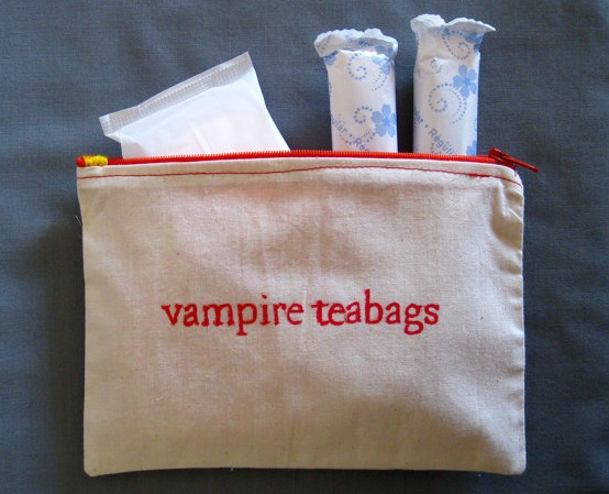 muslin zippered small bag with Vampire Teabags written on it. Used to hold tampons or pads