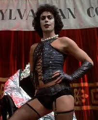Frank N Furter from The Rocky Horror Picture Show, wearing lingerie.