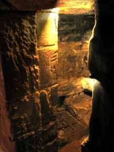 Entrance to the oubliette (dungeon) at Warwick Castle