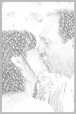 black and white photo of a man and woman kissing. The photo is made up of words