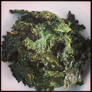 A plateful of kale chips.