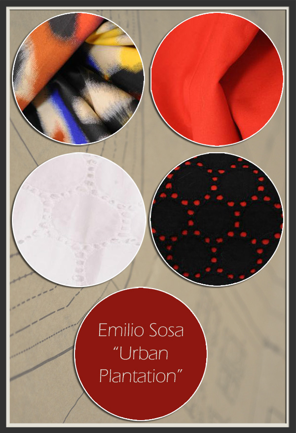 "Four primary fabrics used by Project Runway All Star Emilio Sosa in his mini collection, ""Urban Plantation."""