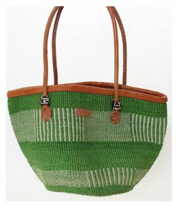 Kiondo woven bag - a green striped bag with tan handles.