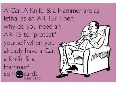 """Drawing of a man sitting in a chair in a suit holding a glass. Purple Background. Black text reads """"A car, a knife, & a hammer are as lethal as an AR-15? Then why do you need and AR-15 to """"protect"""" yourself when you already have a car, a knife, & a hammer?"""" Someecards User Card"""