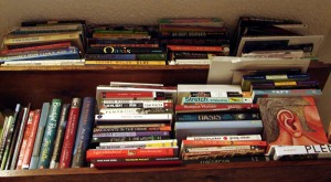 Two very full bookshelves (photo by Sara Habein)