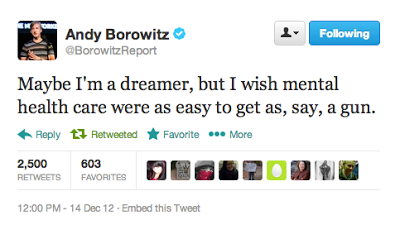 """A tweet from Andy Borowitz that says """"Maybe I'm a dreamer, but I wish mental health care were as easy to get as say, a gun"""""""