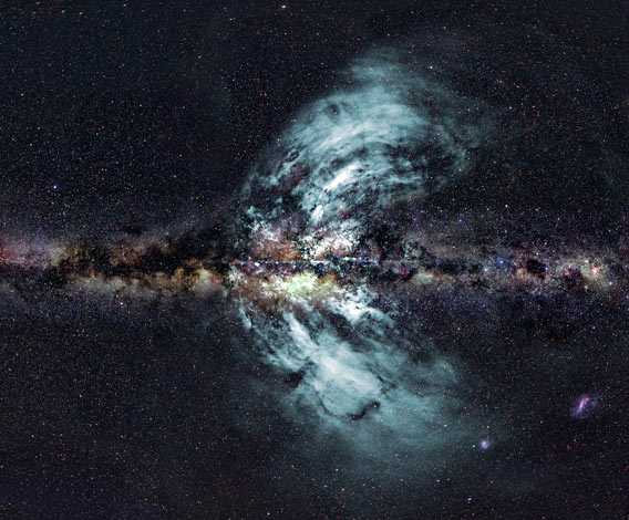 Band of stars and dust comprising the edge-view of the center of the Milky Way galaxy with enormous spouts of material emitting from the top and bottom.
