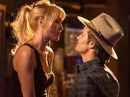 Still from Justified: Raylan and Lindsay