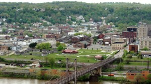 An aerial view of Steubenville, Ohio