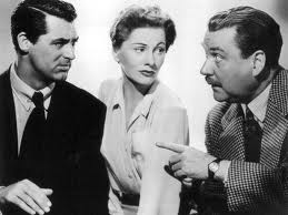 Promotional picture from Suspicion of Cary Grant, Joan Fontaine, and Nigel Bruce