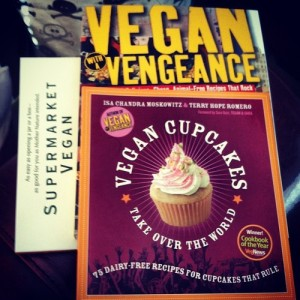 Pile of cookbooks - Supermarket Vegan, Vegan with a Vengeance, and Vegan Cupcakes Take Over the World.