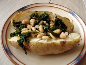 Baked Potato topped with White Beans and Kale