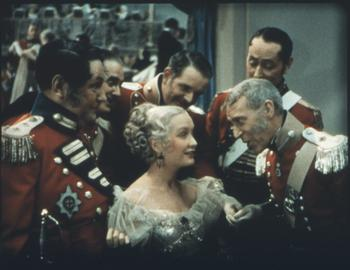Becky and the soldiers at a ball
