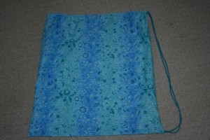 Picture of nearly completed drawstring bag.