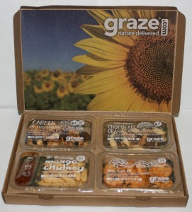 Picture of opened graze.com snack box with all four snacks visible