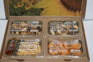 Close-up picture of graze.com snack box items as described above