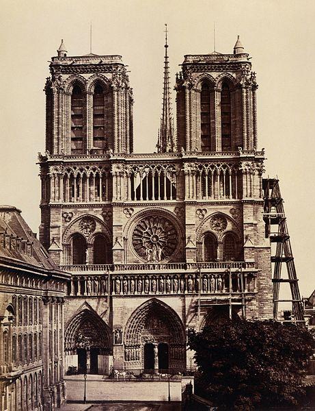Exterior shot of Notre-Dame de Paris taken in the 1860s.