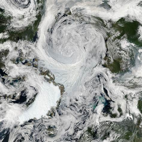 Satellite image of a storm covering a large swath of the Arctic Ocean