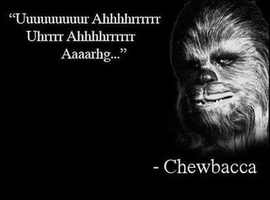 Chewbacca on a black background, captioned in the Wookie language.