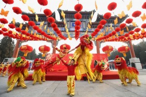 Dragon dancers performing for Chinese New Year