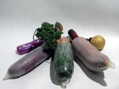Vegetables wrapped in condoms