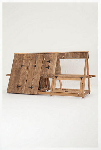 A-frame wooden chicken coop from Anthropologie
