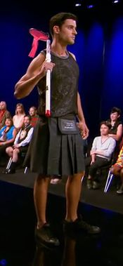 Matthew's outfit for Project Runway episode 11x02.
