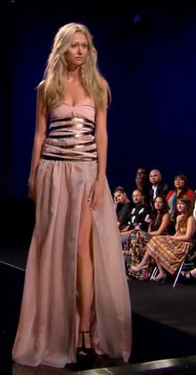 Long pink dress with weird silvery bands around the midsection