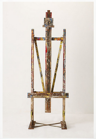 Paint-splattered easel from Anthropologie