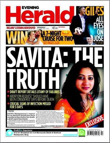"The front page of the newspaper with details of the leaked report. Headline is ""SAVITA: THE TRUTH"""