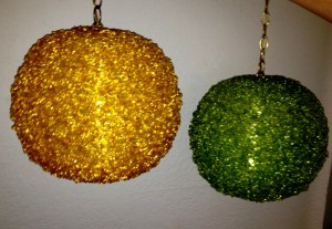 Yellow and green beaded hanging lamps