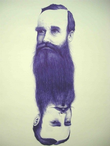 Ink drawing of two men's heads, one upside-down below the other, joined by their beards