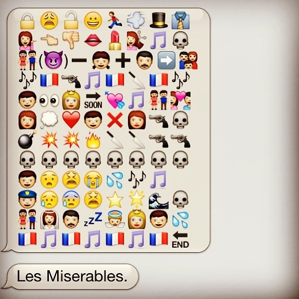 The plot of Les Miserables in text message icons
