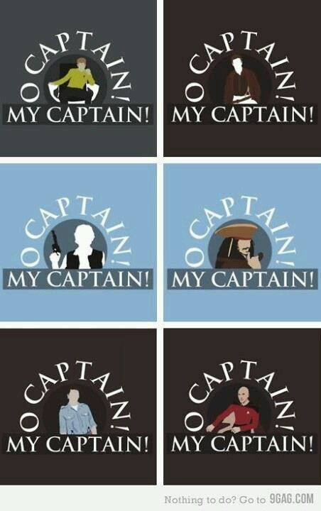 "Six cards reading ""O captain my captain"" with drawings of Captains James T. Kirk, Mal Reynolds, Han Solo, Jack Sparrow, Jack Harkness, and Jean-Luc Picard"