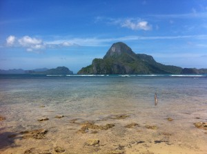 View of El Nido, an island in the Phillippines.