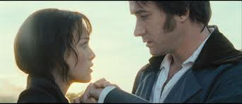 Screencap from Pride and Prejudice of Darcy and Lizzie staring into each other's eyes