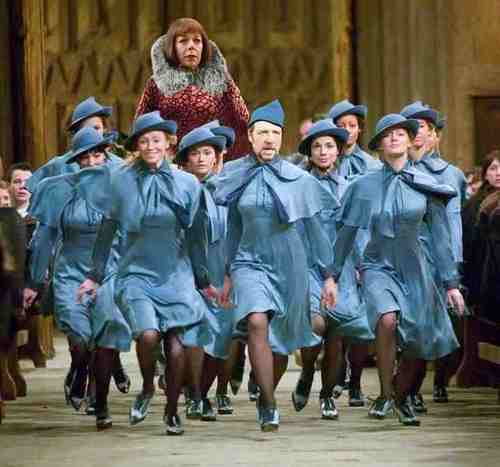 Still from Harry Potter and the Goblet of Fire with the head of Russell Crowe as Javert photoshopped onto one of the Beauxbatons girls as they enter Hogwarts