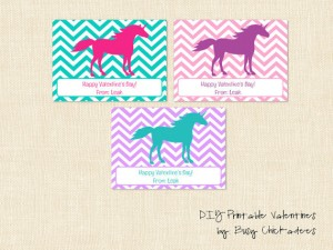"Three cards with brightly colored unicorns on a chevron background, message at the bottom reads ""Happy Valentine's Day from Leah."""