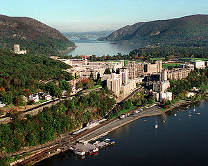 Aerial view of West Point on the Hudson River