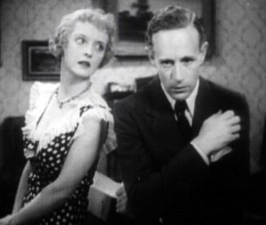 "Bette Davis and Leslie Howard in a still from ""Of Human Bondage"""