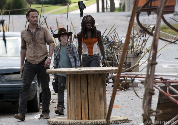 Michonne, Carl, and Rick