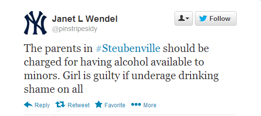 Tweet reading: The parents in #Steubenville should be charged for having alcohol available to minors. Girl is guilty if underage drinking shame on all