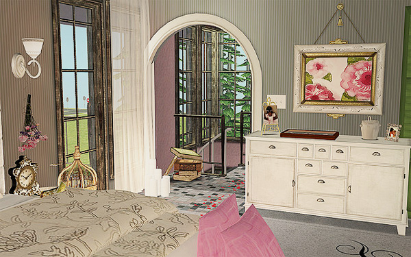 View into hallway from a bedroom, which overlooks a fluffy bed and a white wooden dresser.