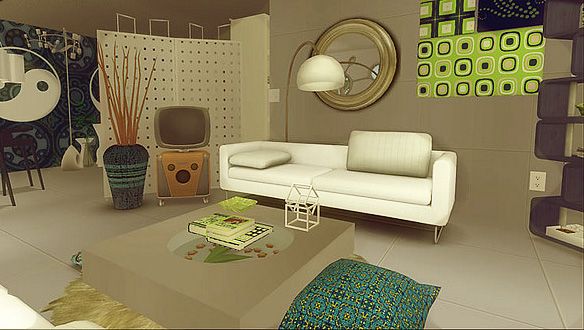 Retro-styled living room with leather couch, old-fashioned TV and large round mirror.