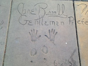Jane Russell's autograph, handprints, and footprints in concrete