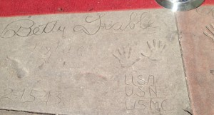 Betty Grable's autograph, handprints, and legprint in concrete