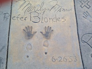 Marilyn Monroe's autograph, handprints, and footprints in concrete