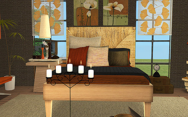 Serene bedroom with large windows and natural materials and decor.